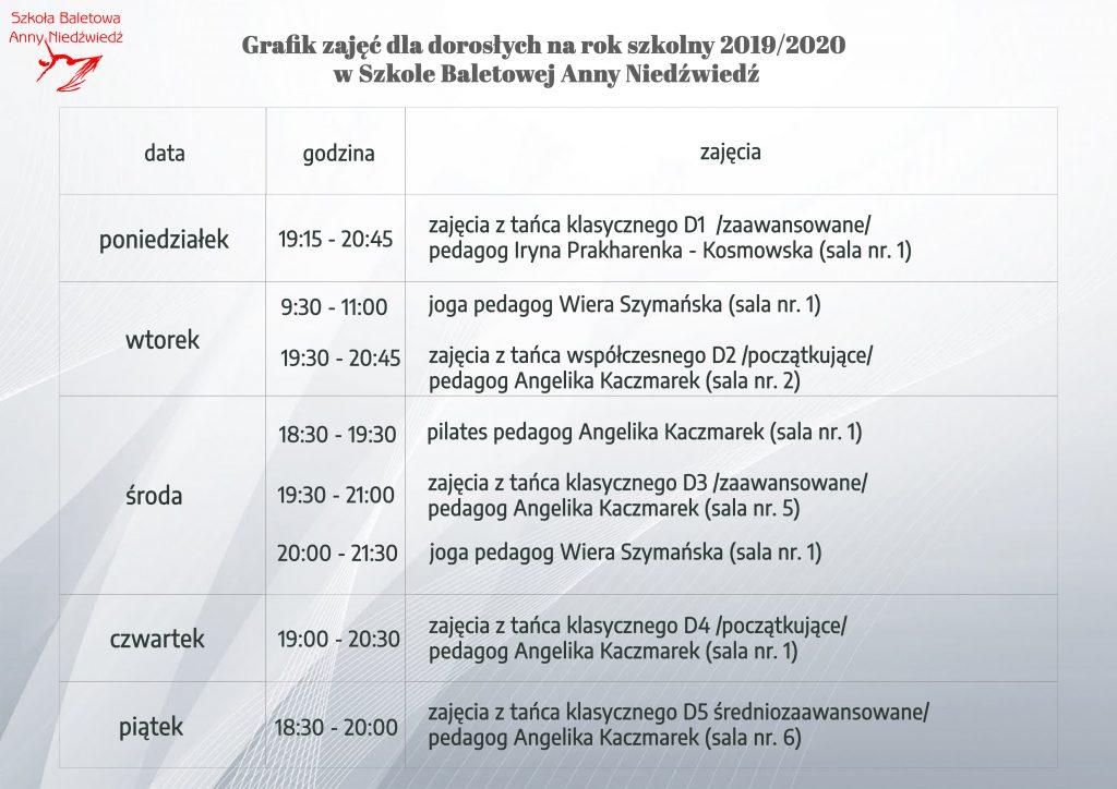 grafik zajęć dla dorosłych balet Poznań